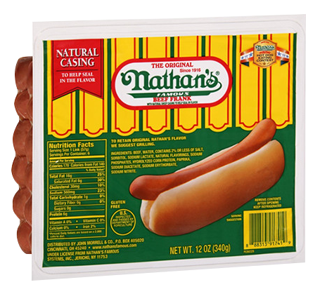 Packaged Nathan's hot dogs